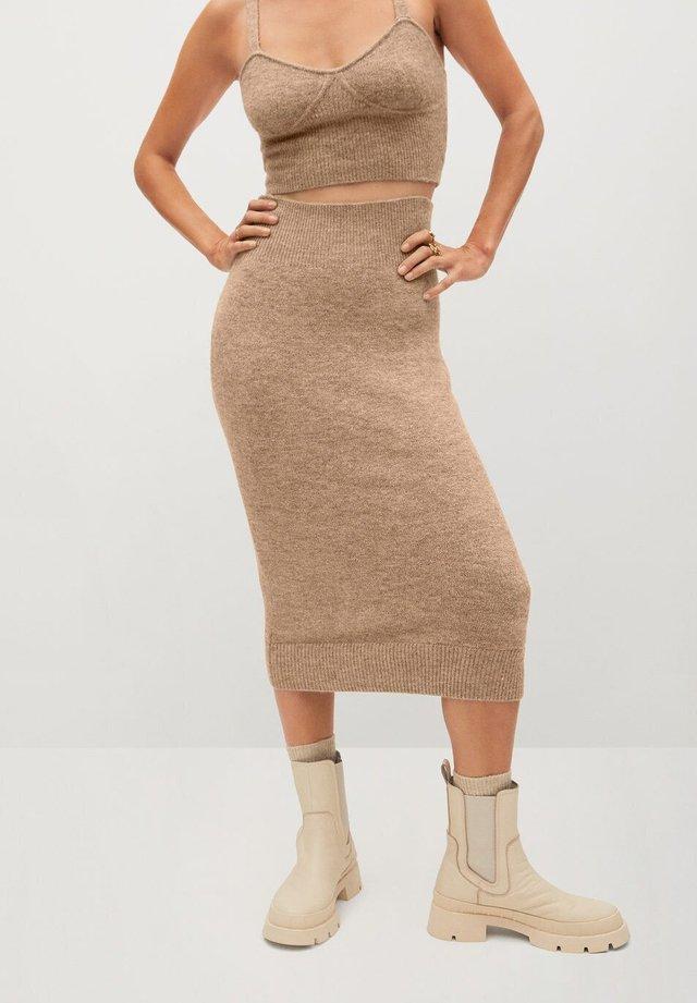TALDORA - Pencil skirt - marron moyen