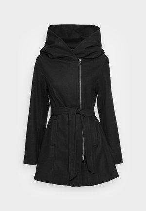 HOODIE COAT WITH ZIP - Short coat - black