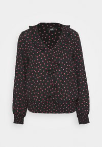 Wallis - HEART PRINT RUFFLE SHIRRED HEM TOP - Blouse - black - 5