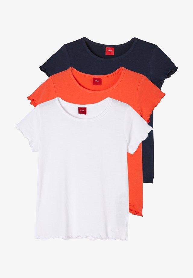 T-Shirt basic - white orange dark blue