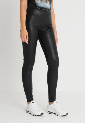 YASZEBA STRETCH - Leather trousers - black