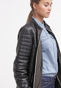 Oakwood - DUVET - LEATHER JACKET - Leather jacket - black - 3