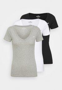 Hollister Co. - ICON MULTI 3 PACK - Basic T-shirt - white/black/light grey - 0