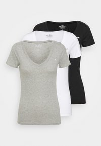 Hollister Co. - ICON MULTI 3 PACK - Jednoduché triko - white/black/light grey - 0