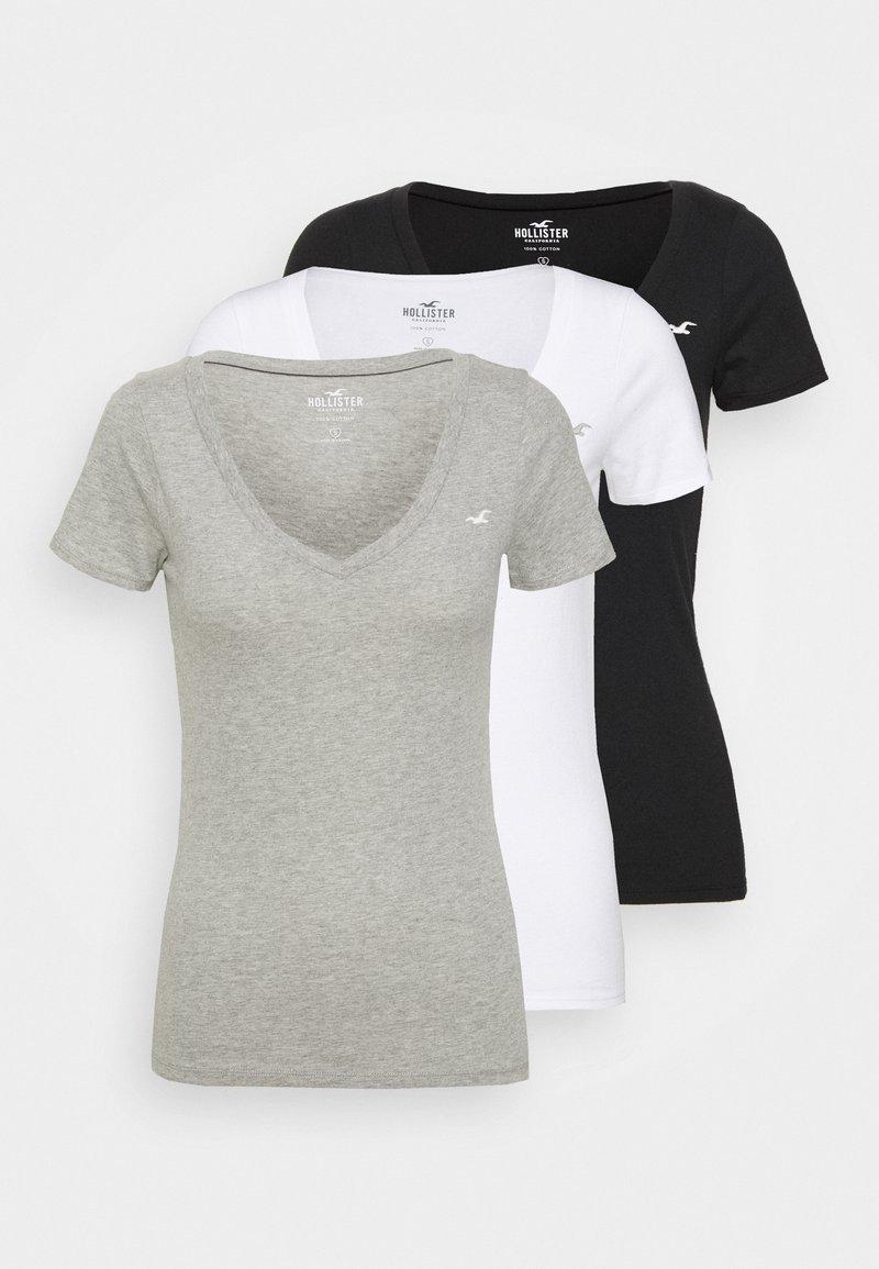 Hollister Co. - ICON MULTI 3 PACK - Basic T-shirt - white/black/light grey