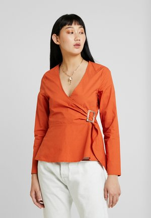 POPLIN BUCKLE WRAP BLOUSE - Blouse - rust