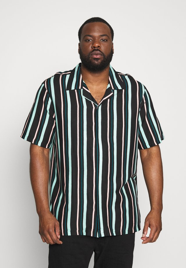 PLUS STRIPED BOWL SHORT SLEEVED - Košile - black
