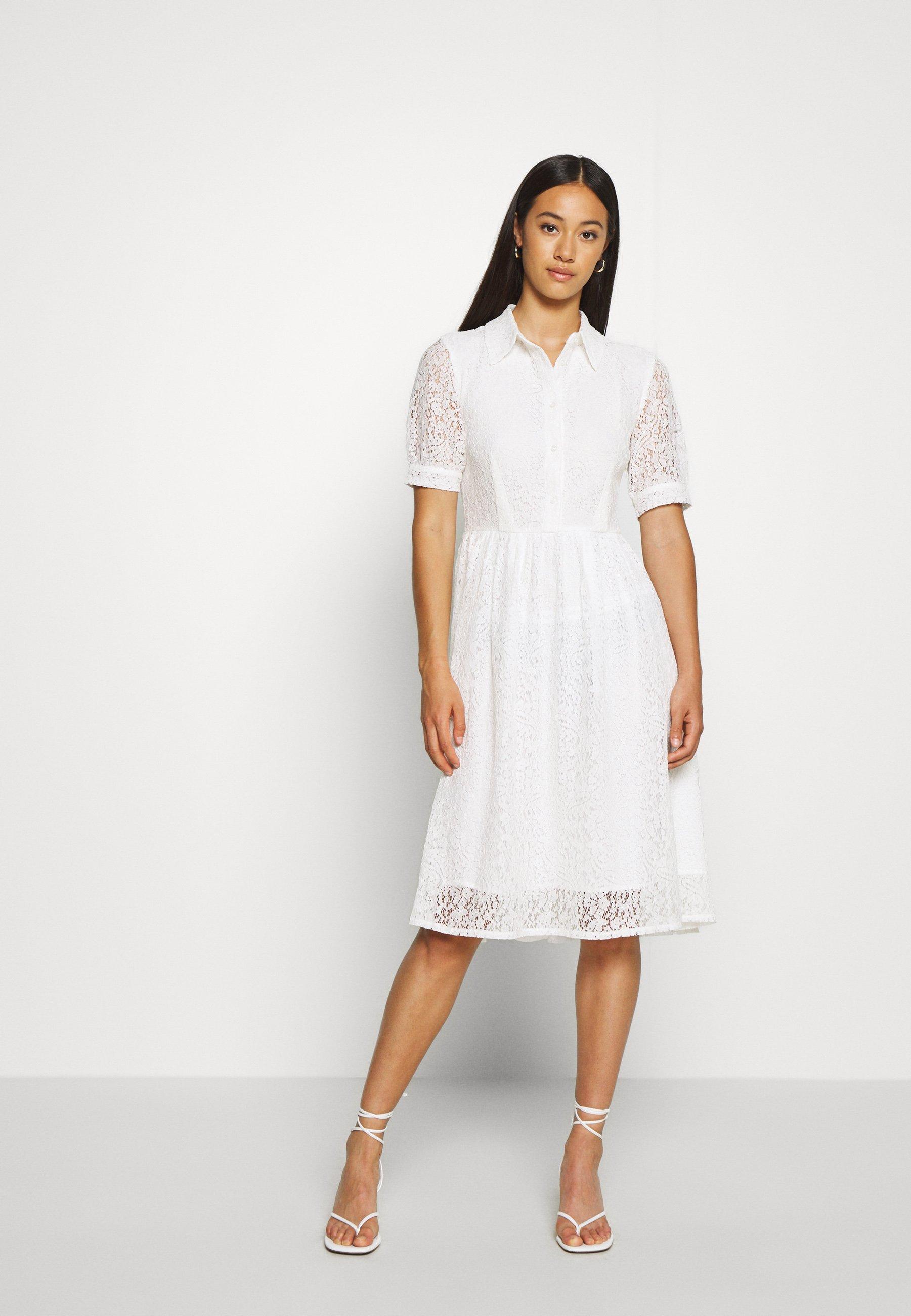 short sleeve dress - blusenkleid - white