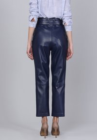 Basics and More - Leather trousers - dark blue - 1