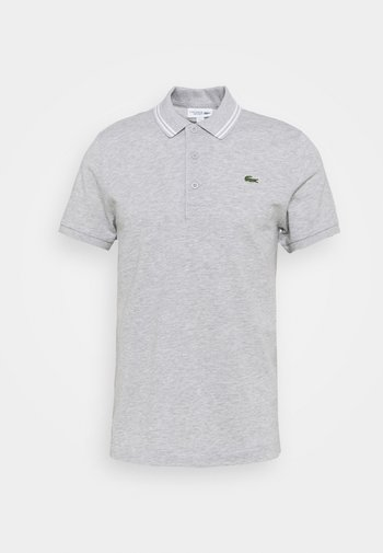DETAILED COLLAR - Polo - silver chine/white