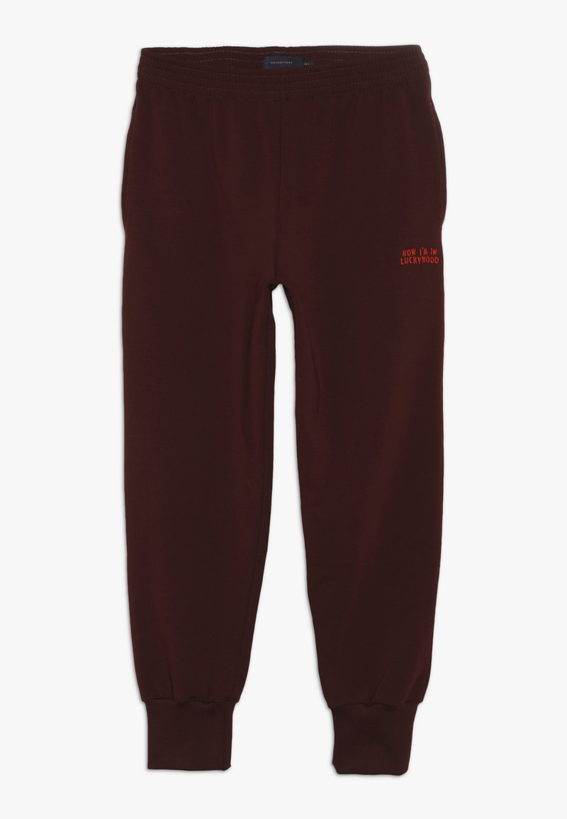 TINYCOTTONS - LUCKYWOOD SIGN  - Tracksuit bottoms - aubergine/red
