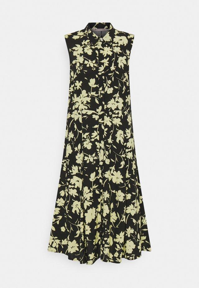 Shirt dress - black/yellow