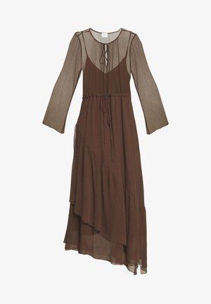 MIJA DRESS LONG AND WIDE SLEEVES ROUND NECK WITH SLIT - Day dress - dark chocolate