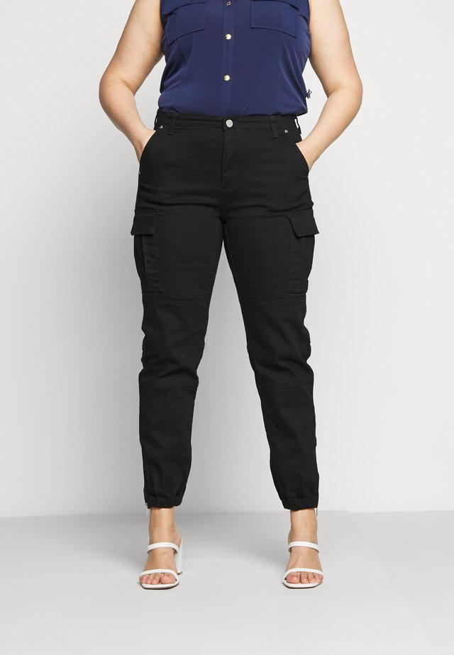 CARGO - Jeans baggy - black