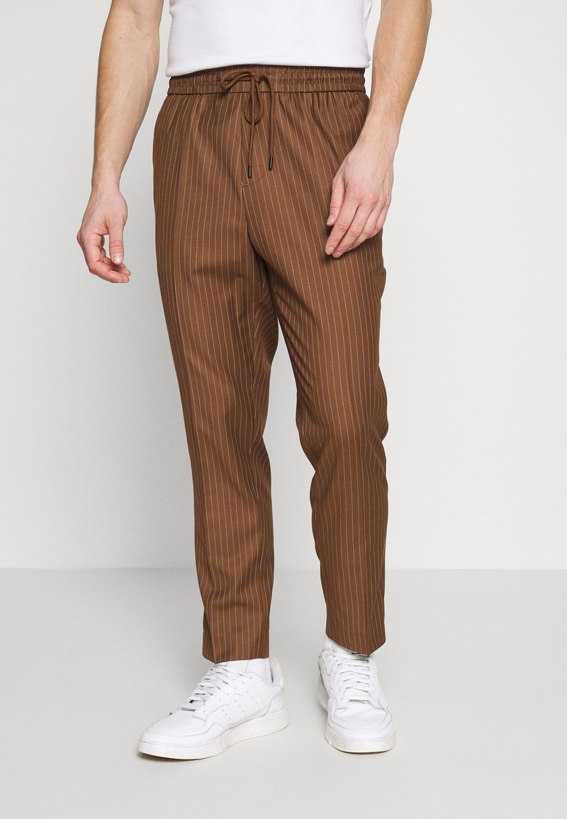 New Look - PIN STRIPE PULL ON - Broek - stone