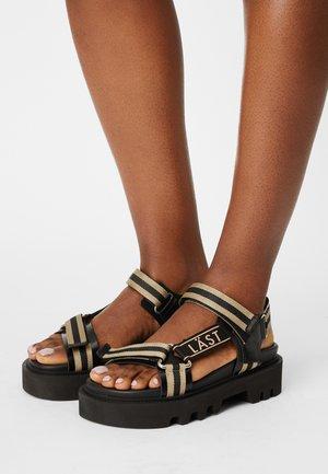 CANDY - Platform sandals - black/taupe