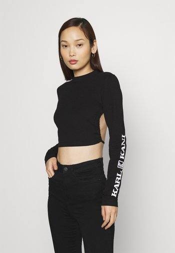 RETRO CROPPED - Long sleeved top - black