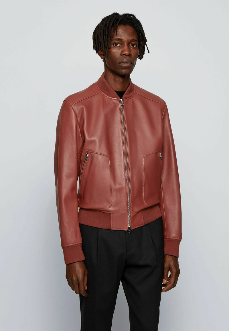 BOSS - NIPET - Leather jacket - brown