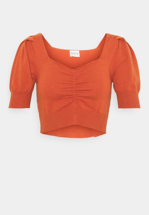 SHORT SLEEVE CROP JUMPER WITH BUST DETAIL - Print T-shirt - rust