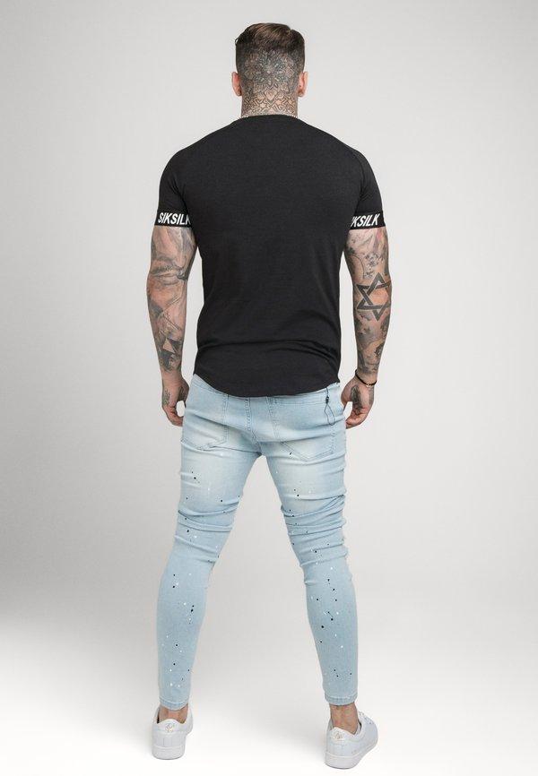 SIKSILK RAGLAN TECH TAPE TEE - T-shirt basic - black/czarny Odzież Męska SABK