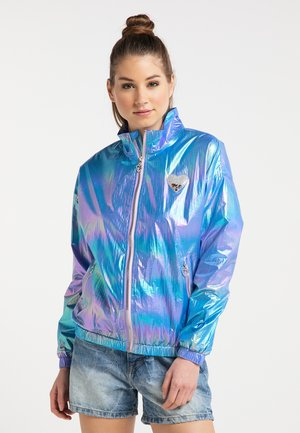Waterproof jacket - blue holographic