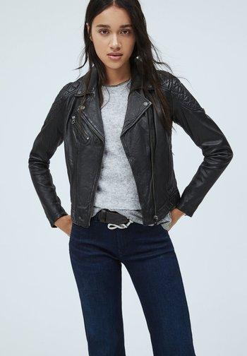 ALBA - Leather jacket - black