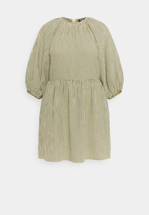CHECK PUFF SLEEVE DRESS - Kjole - green