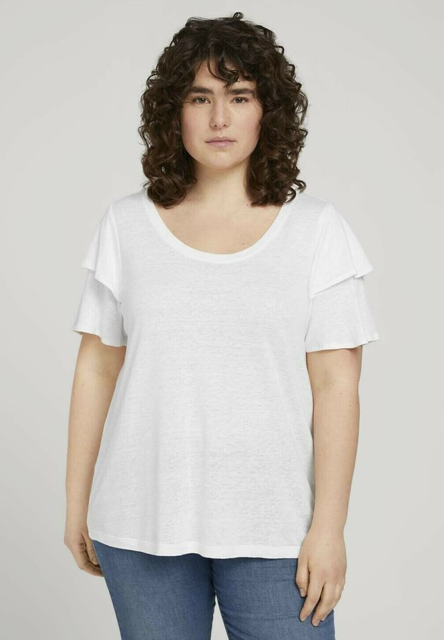 MIT RÜSCHENÄRMEL - T-shirt basic - whisper white