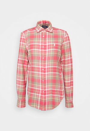 GEORGIA LONG SLEEVE BUTTON FRONT - Button-down blouse - red/white multi
