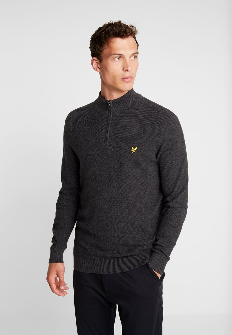 Lyle & Scott - MOSS STITCH 1/4 ZIP  - Maglione - charcoal marl