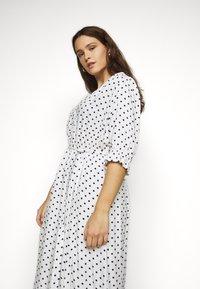 City Chic - DRESS SPOTTY TIER - Shirt dress - white - 3