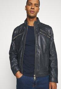 Carlo Colucci - BIKER JACKET - Leather jacket - anthra - 3