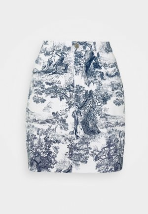 DELPHT PRINT STRETCH SKIRT  - Denim skirt - blue