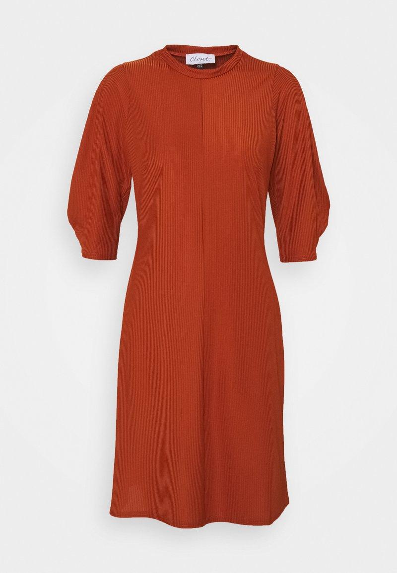 Closet - HIGH NECK A LINE DRESS - Day dress - rust