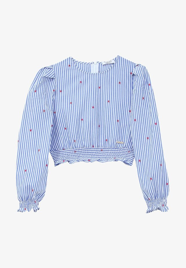 STRIPED CROP - Blouse - light blue