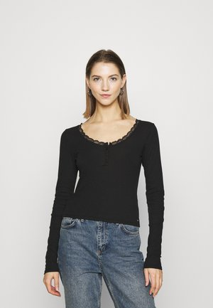 BUTTON THRU HENLEY - Topper langermet - black
