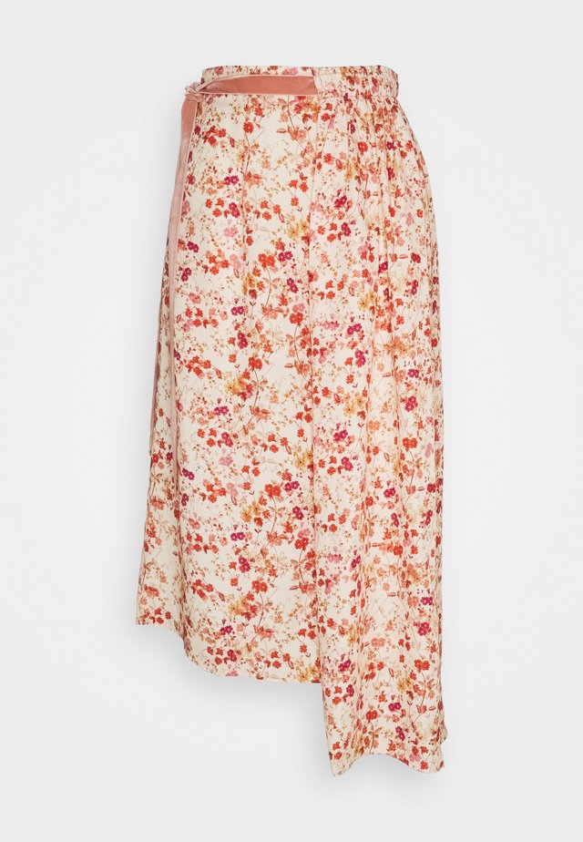 ASYMMETRIC SKIRT WITH GATHERED WAIST - Jupe trapèze - sepia blossom