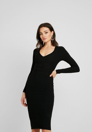 DEEP MIDI DRESS - Vestido de tubo - black