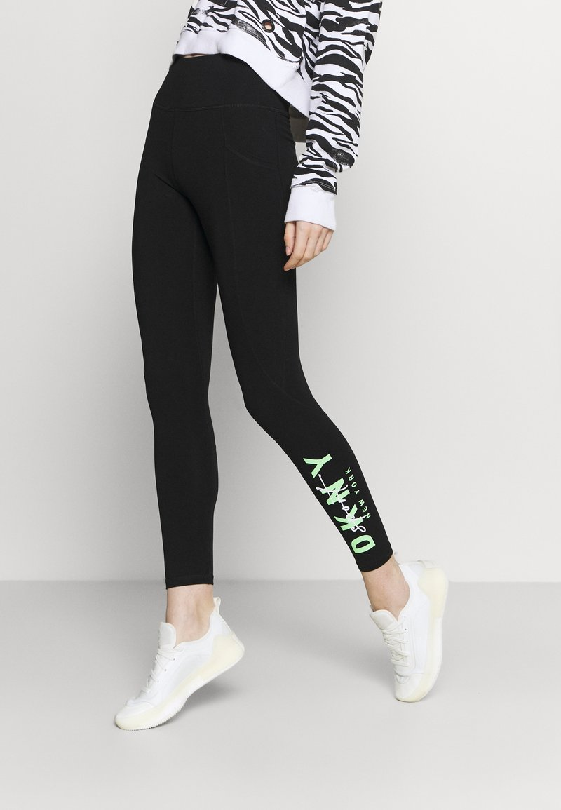 DKNY - GRAPHIC SCRIPT LOGO HIGH WAIST LEGGING POCKETS - Leggings - black