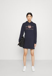 GANT - ARCHIVE SHIELD HOODIE DRESS - Day dress - evening blue - 1