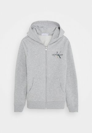 SMALL MONOGRAM ZIP HOODIE - Felpa aperta - grey