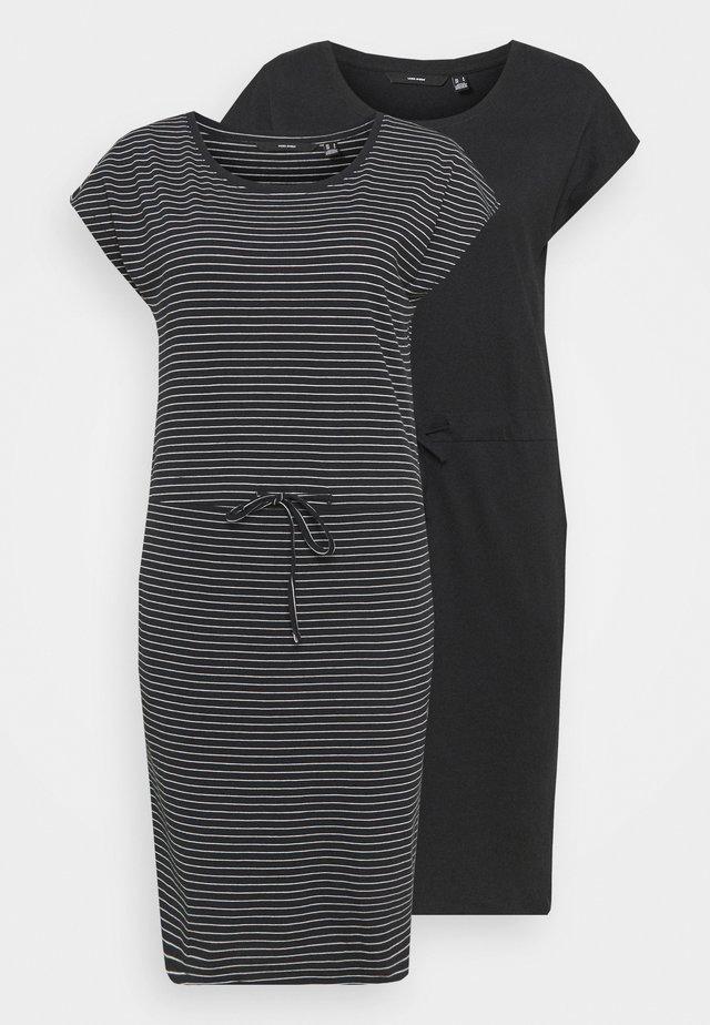 VMAPRIL SHORT DRESS 2 PACK - Vestito di maglina - black/ snow white