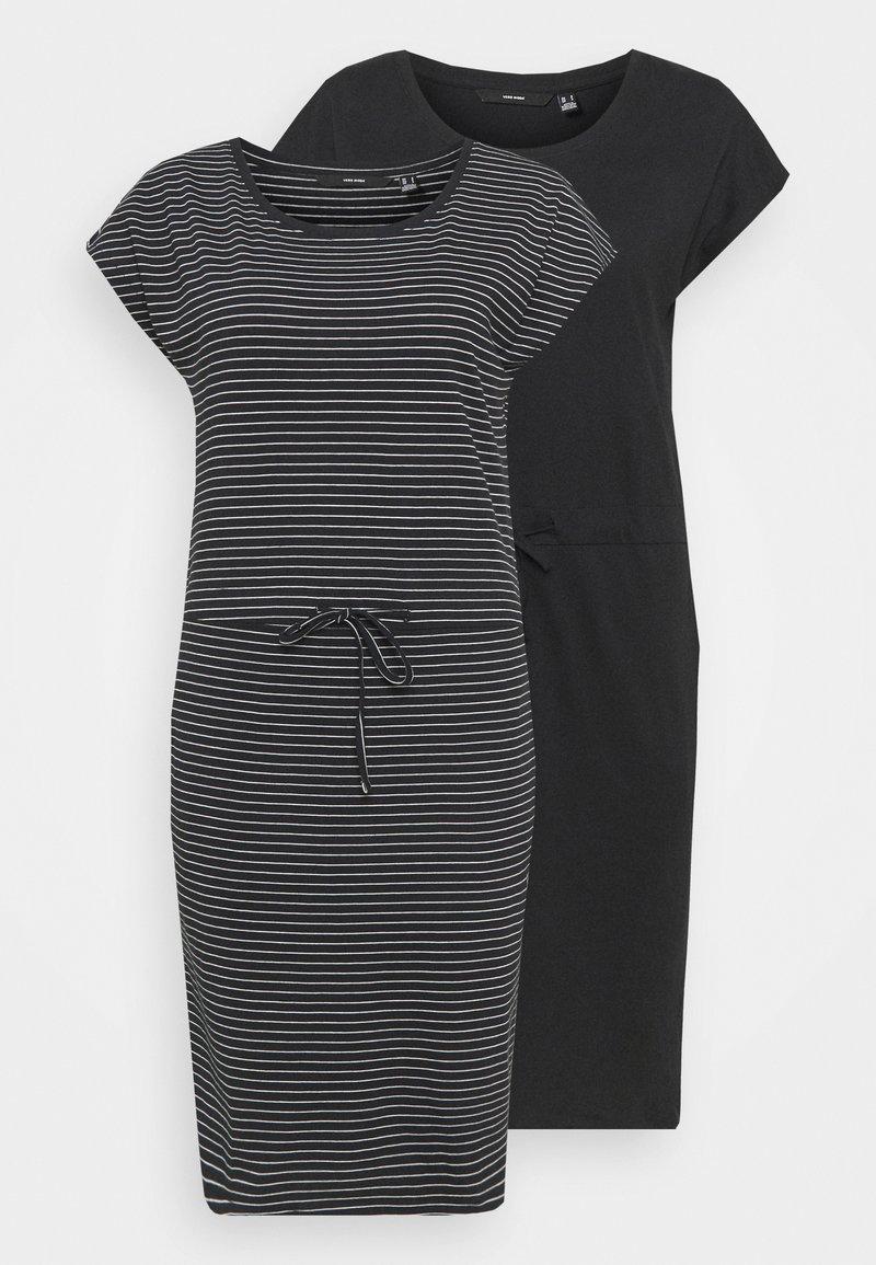Vero Moda Tall - VMAPRIL SHORT DRESS 2 PACK - Jersey dress - black/ snow white