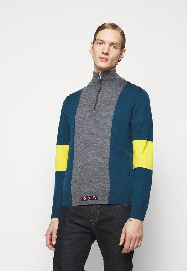 MENS ZIP NECK - Pullover - petrol/dark grey melange/yellow
