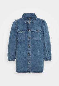 Noisy May - NMRILEY PUFF WESTERN - Button-down blouse - medium blue denim - 0