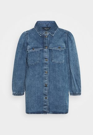 NMRILEY PUFF WESTERN - Button-down blouse - medium blue denim