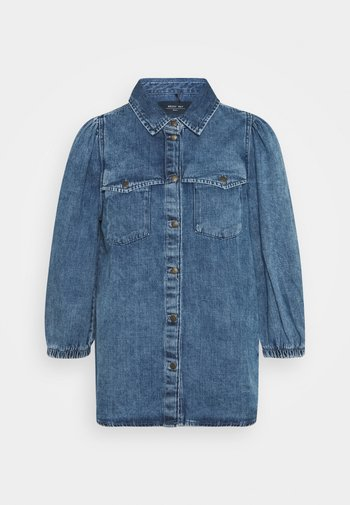 NMRILEY PUFF WESTERN - Button-down blouse - medium blue denim