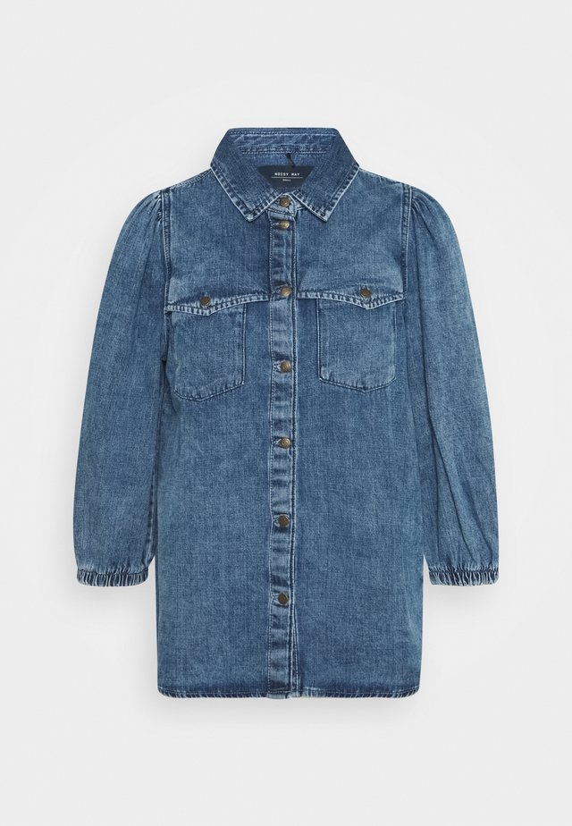 NMRILEY PUFF WESTERN - Camicia - medium blue denim