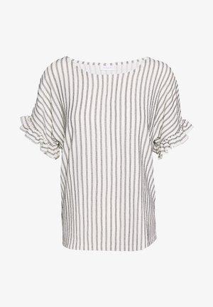 VIVANILLA  O NECK FLOUNCE  - Print T-shirt - snow white/black