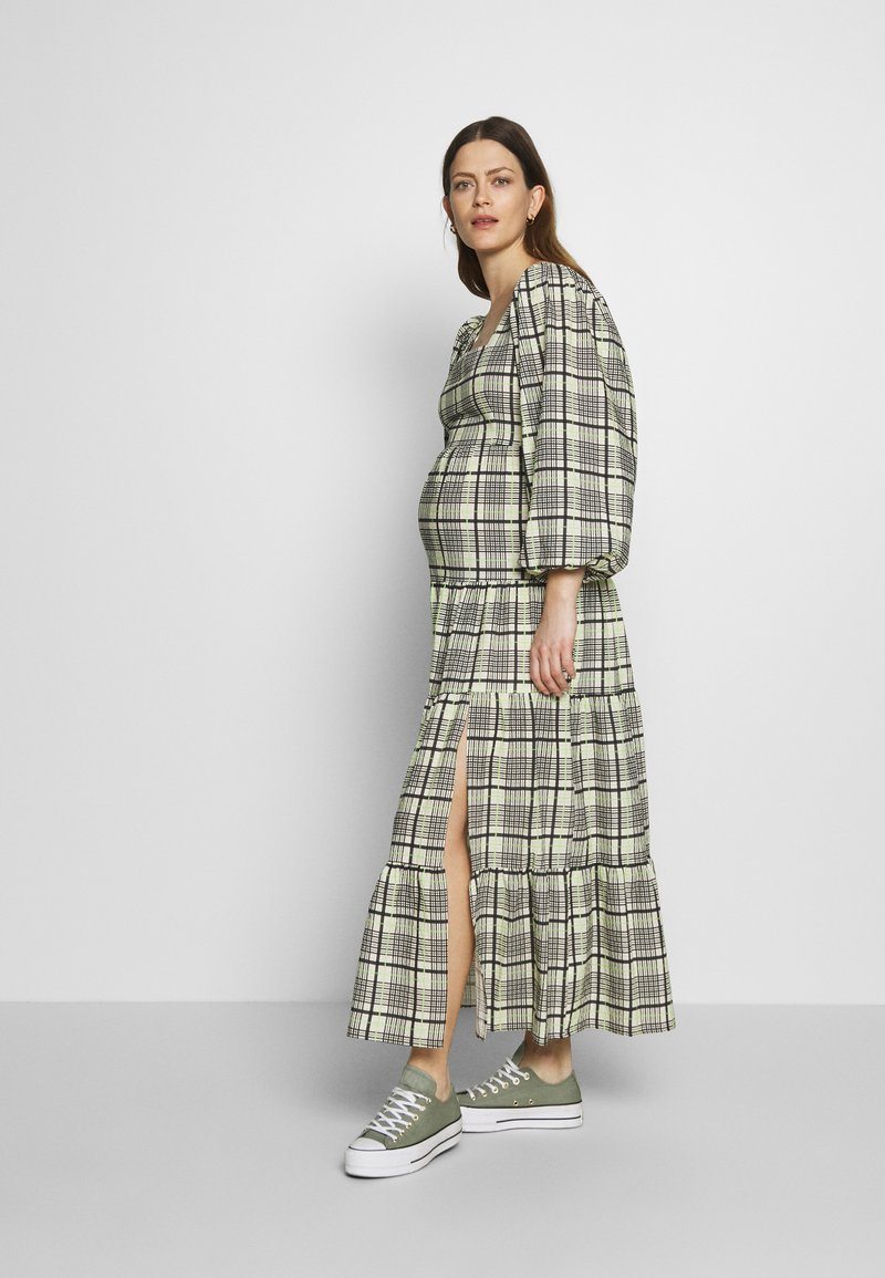 Topshop Maternity - CHECK TIERED NECK - Maxi dress - green